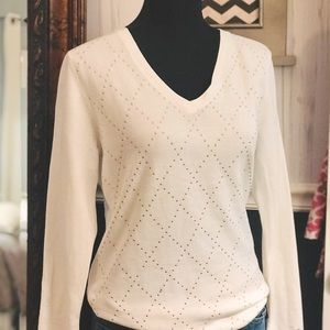 Tommy Hilfiger Ivy Studded Argyle V-Neck Sweater